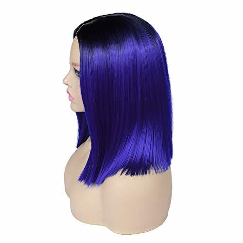 Quick Wig Ombre Wigs Short Straight Synthetic Wigs Middle Part Dark Roots Heat R image 4
