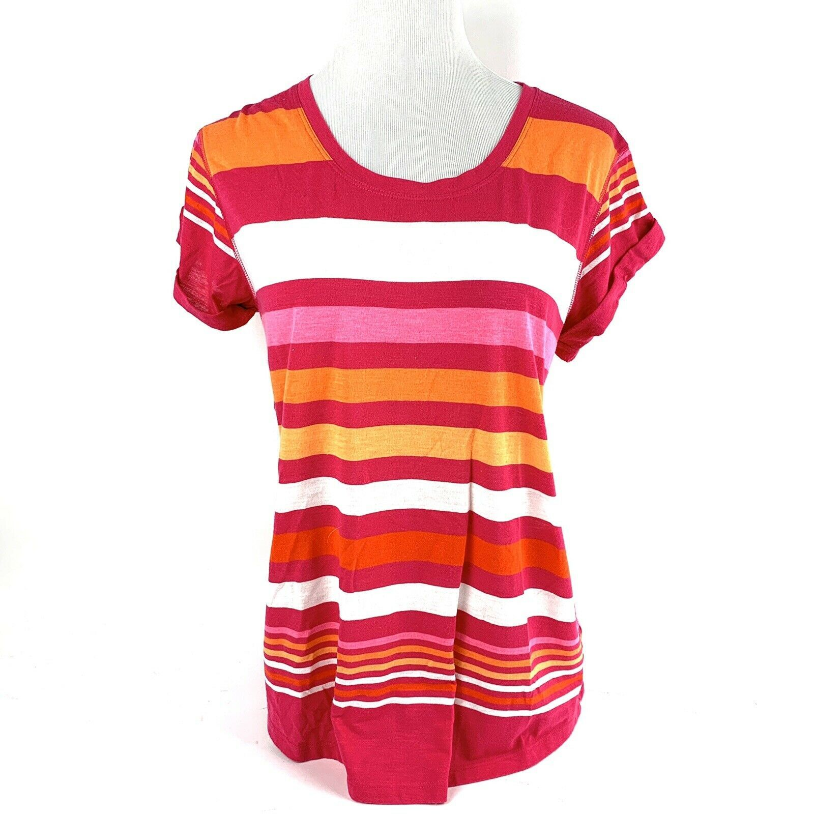 A.N.A. Women's Size M Pullover Short Sleeve Cotton Striped Mult-color T-Shirt EC
