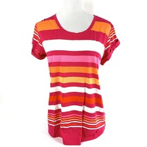 A.N.A. Women's Size M Pullover Short Sleeve Cotton Striped Mult-color T-... - $13.47