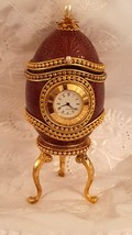 ANTIQUE Clock egg FABERGE style Trinket box 24kt Gold Unique gift for man HNDMDE - $599.00