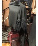 Vintage Black Wool Fringed Scarf Wrap - $75.24