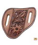 Large Hilason Leather Angled Knife Scabbard Sheath Cover Floral Tooled U... - $24.74