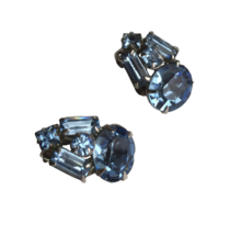 "60s 3/4"" Silver Tone Prong Set Blue Crystal Rhinestone Clip On Earrings - $28.00"