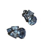 "60s 3/4"" Silver Tone Prong Set Blue Crystal Rhinestone Clip On Earrings - $28.00"