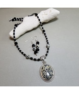 Dalmation jasper pendant, Matching earrings, Onyx necklace, Jasper neckl... - $42.00