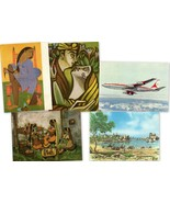 Air India Boeing 707 Vtg. Postcards Toilet Raiba Samyog Toy Sellers Saida - $24.95