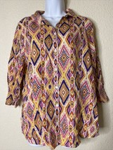 Chico's Womens Size 2 Colorful Geometric Striped Button Front Blouse Linen - $19.32
