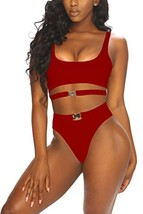 LaSuiveur Women's Sexy High Waisted Bikini Swimsuits Solid Color Pushup ... - $20.57