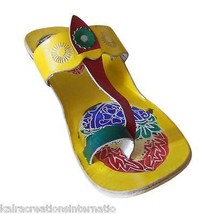 Women Slippers Indian Handmade Casual Leather Flip-Flops Yellow US 6 - $24.99
