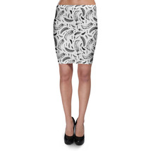 Boho Watercolor Feathers Monochrome Bodycon Skirt - $24.99+