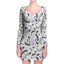 Boho Watercolor Feathers Purple Longsleeve Bodycon Dress - $36.99+