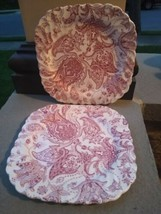 Johnson Brothers 1970s Red  Paisley 7 5 /8 inch square salad plates - $29.00