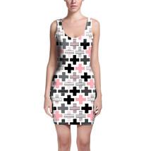 Geometric Plus Pink Bodycon Dress - $32.99+