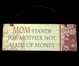 Small Wall Sign Plaque Decoration M O M - $6.98