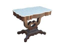 18136A Antique Empire Marble Top Pier Table Hall - $685.00