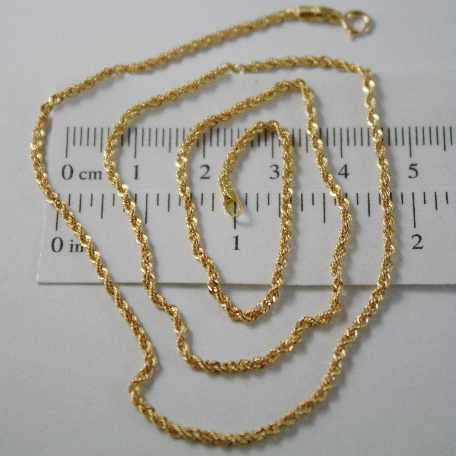 18K YELLOW GOLD CHAIN NECKLACE, BRAID ROPE 20 INCHES, 50 CM LONG, MADE IN ITALY
