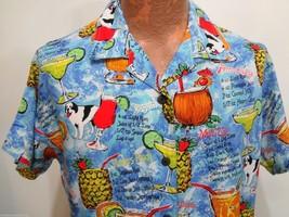 Big Dogs Mens M Tropical Drinks Cocktails Blue Hawaiian Short Sleeve Ray... - $29.16