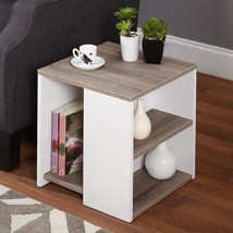 Modern Storage End Tables White Brown Side Shelves Shelf Holder Square T... - $89.56