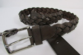 New Coach Men Belt Brown Braided Woven Leather Classic Silver Buckle F90284 - $53.99