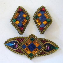 Vintage Multi Color Rhinestones Beads Inlay Brooch Earrings Set Artisan ... - $46.53