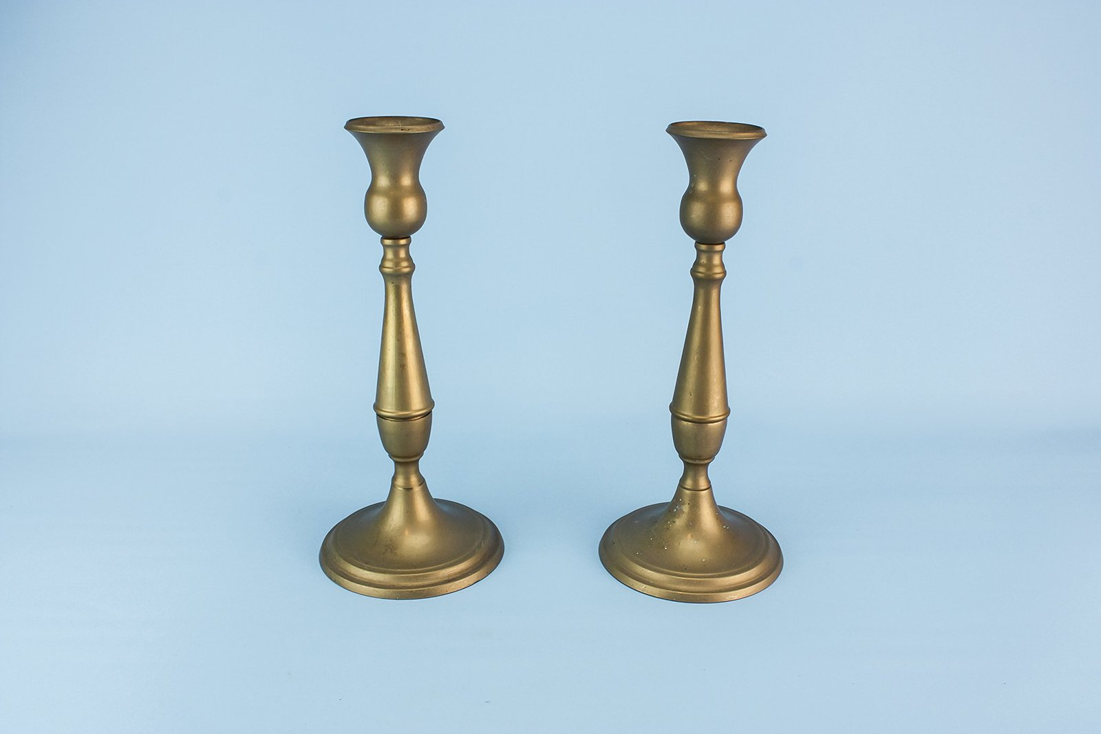 2 brass antique tall candlesticks christmas arts crafts