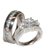 His and Hers Wedding Rings 3 Pc Set Sterling Si... - $59.99