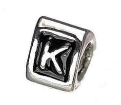 Letter K Initial European Bead for bracelet Silver .925 - $18.26