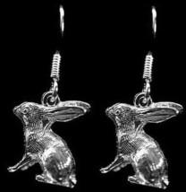3D solid Bunny Rabbit Earrings Sterling Silver jewelry - $669,57 MXN