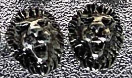 Detailed Lion cat Sterling Silver Stud Earrings Jewelry - $19.78