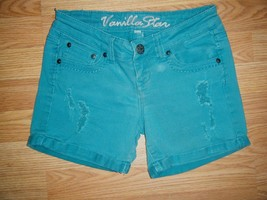 VANILLA STAR GREEN STRETCH COTTON DISTRESSED CUFFED SHORTS SIZE 1 - $14.50