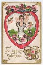 Cupid Cherub Pretty Lady Glitter Embossed Gold Patriotic Bow Valentine P... - $8.99