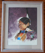 Doug Yazzie Navajo artist 26x20 inch watercolor... - $222.75