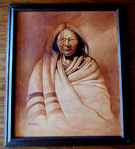 Navajo oil painting of old chief by Douglas Yaz... - $346.50