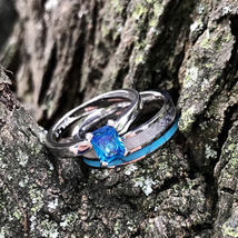 2 pc Deer Antler Band Turquoise Sapphire Engagement ring -  Womens Weddi... - $119.99