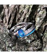 2 pc Deer Antler Band Turquoise Sapphire Engagement ring -  Womens Weddi... - $119.99
