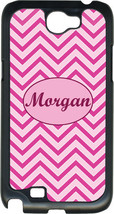 Monogrammed Pink Chevron Design on Samsung Galaxy Note II 2 Hard Case Cover - $15.95