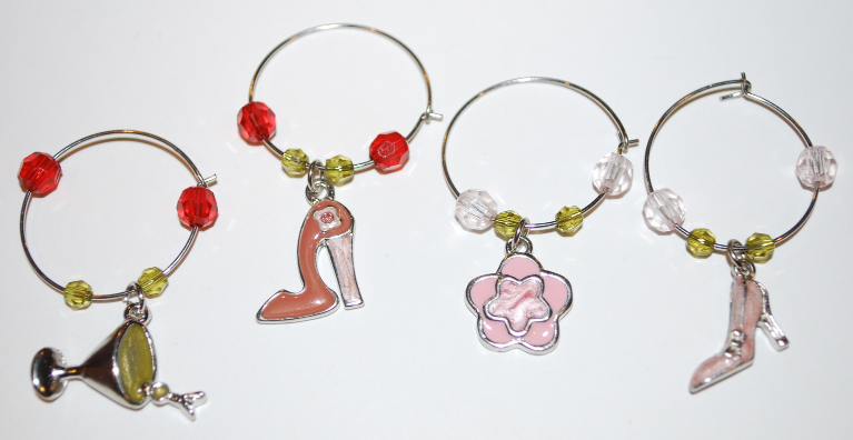 Pink Shoes & Flowers  Enamel Wine Glass Charms with Beads (Package of 4)