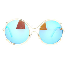 Womens Futuristic Sunglasses Double Metal Rim Round Circle Frame UV 400 - $10.95