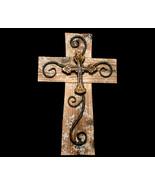 Inspirational Wood and Metal Wall Cross on Cross - $16.99