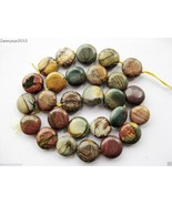 Natural Picasso Jasper Gemstone 14mm Freeformed Round Coin Loose Beads 15'' - $4.27