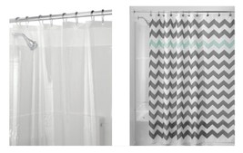 InterDesign Chevron Shower Curtain, Gray/Aruba & Shower Curtain Liner, 7... - $22.95