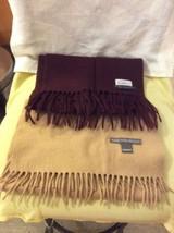Lot Of 2 SAKS FIFTH AVENUE unisex Cashmere & Lamb wool Scarf Beige & Burgundy - $48.26