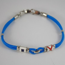 925 SILVER BRACELET NAUTICAL AZURE ROPE HUG GLAZED FLAGS BY ZANCAN MADE IN ITALY image 1