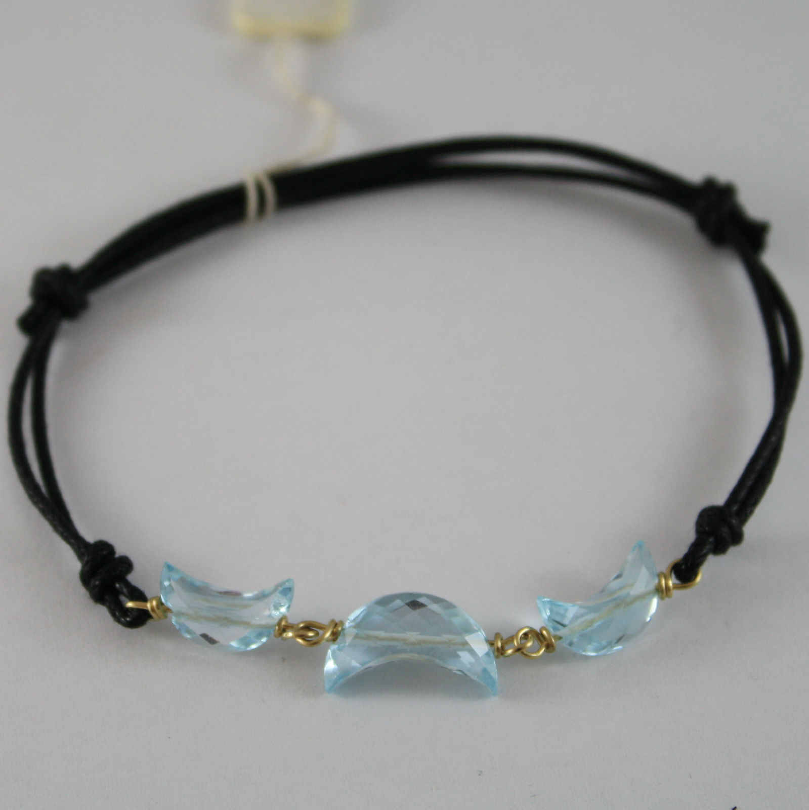 SOLID 18K YELLOW GOLD BRACELET WITH MOON FACETED BLUE TOPAZ, MADE IN ITALY