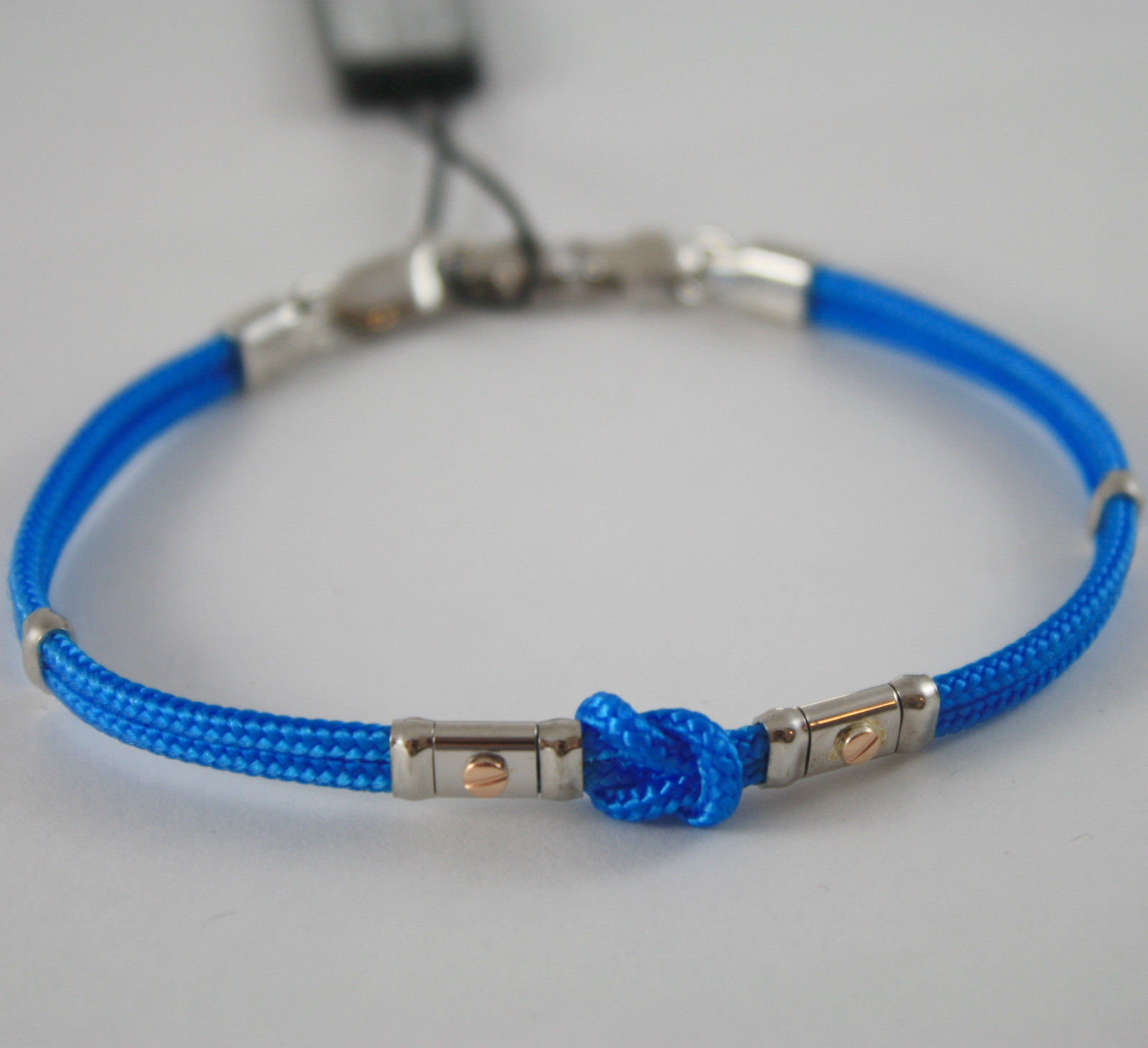 18K ROSE GOLD AND 925 SILVER BRACELET BLUE NAUTICAL ROPE BY ZANCAN MADE IN ITALY