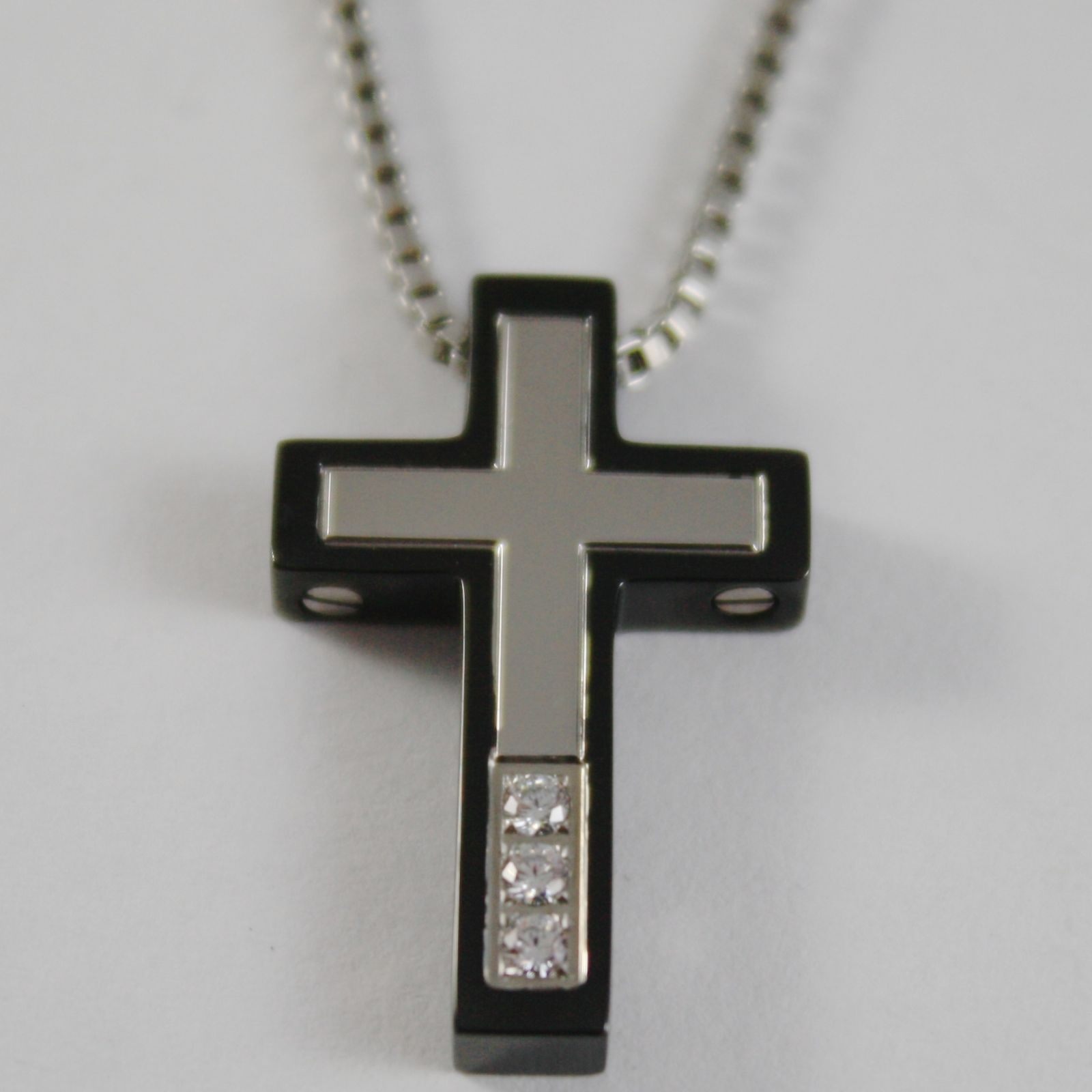STAINLESS STEEL CROSS PENDANT, ZIRCONIA, VENETIAN CHAIN, NECKLACE BY ZANCAN