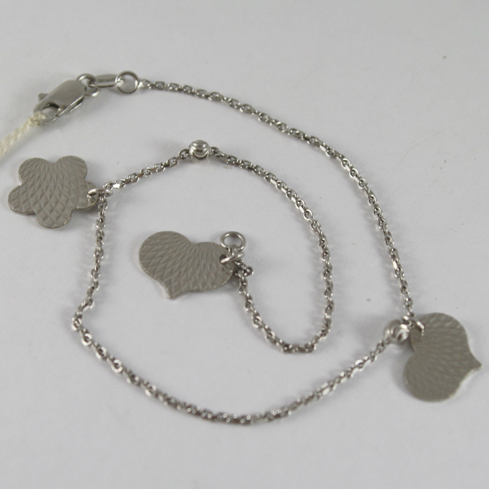 SOLID 18K WHITE GOLD BRACELET - ANKLET WITH PENDANT HEART FLOWER, MADE IN ITALY