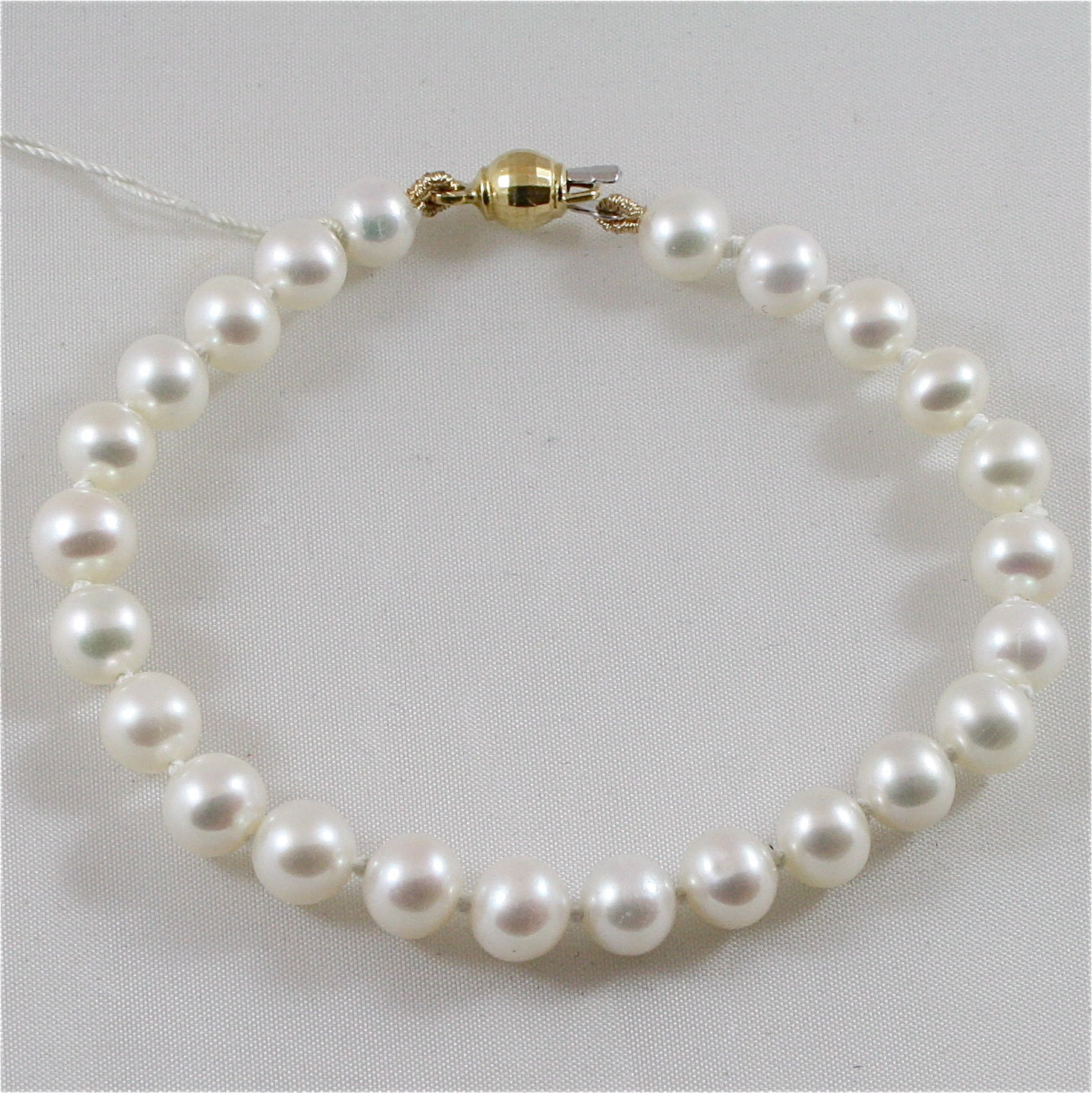 18K 750 YELLOW GOLD AND WHITE PEARLS (8MM DIAM.) BRACELET