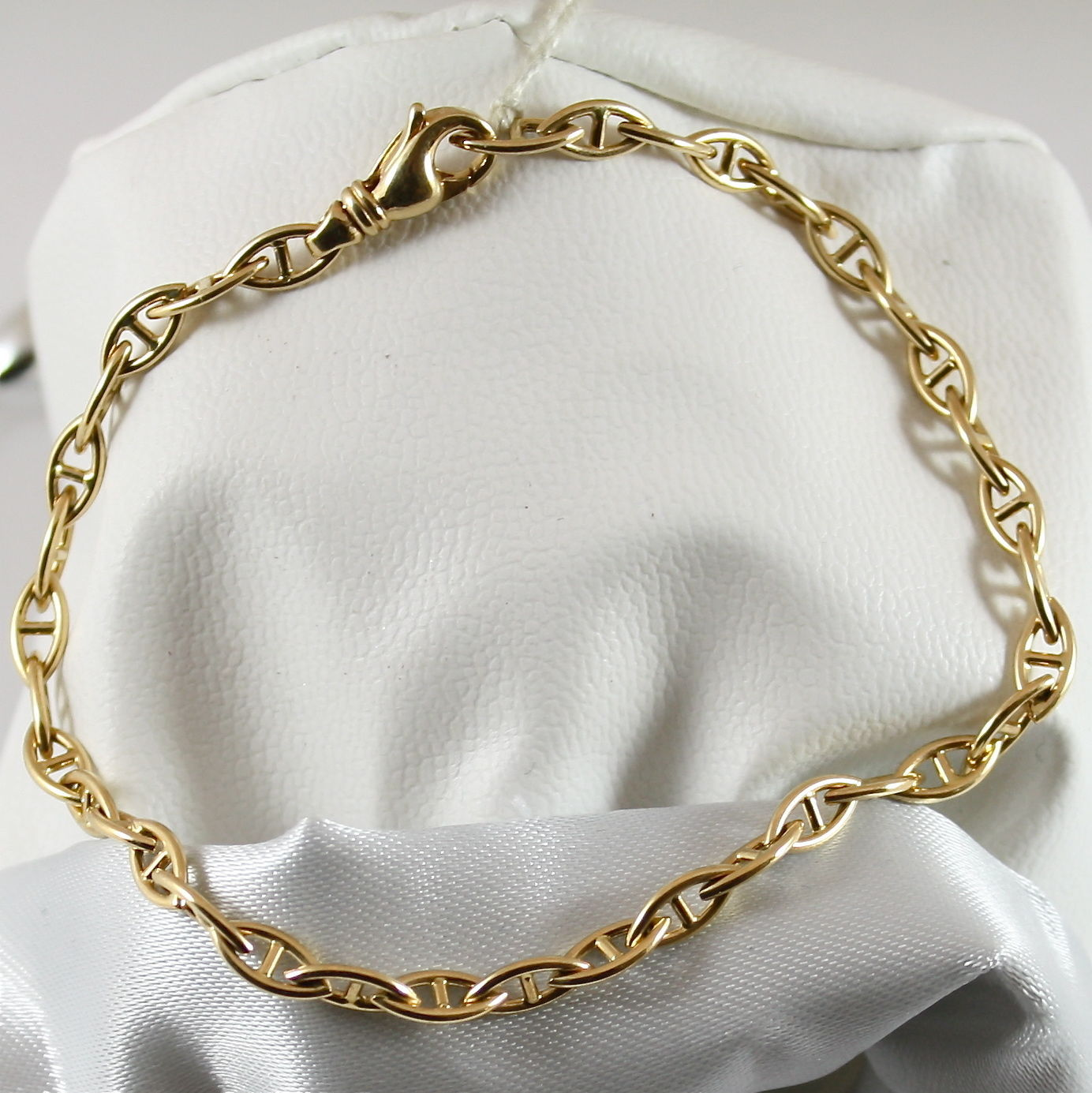 18K 750 YELLOW GOLD SOLID BRACELET, YELLOW GOLD WITH OVAL SEA MESH MADE IN ITALY