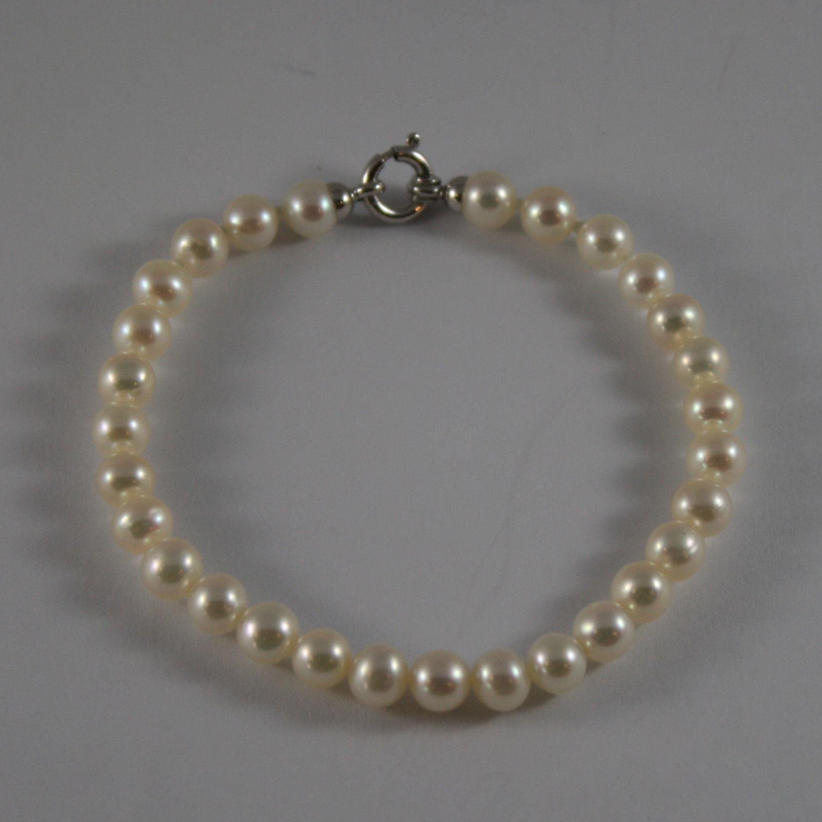 SOLID 18K WHITE GOLD BRACELET WITH FRESHWATER WHITE PEARL MADE IN ITALY 7,28 IN